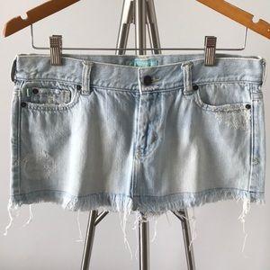 Hollister Fringed Light Wash Denim Jean Skirt